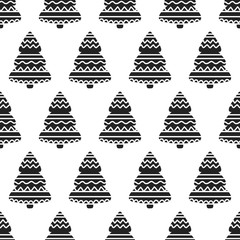 Christmas background with ornamental trees. Holiday monochrome seamless pattern.