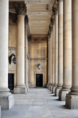 stone columns and portico of leeds town hall in west yorkshire