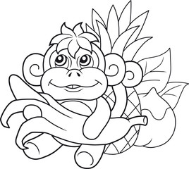 cartoon cute monkey with banana
