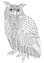 Eurasian eagle-owl. Hand drawn owl. Sketch for anti-stress adult coloring book in zen-tangle style. Vector illustration for coloring page.