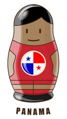Vector illustration. Football tournament 2018. Flag of Panama. logo for the summer soccer championship. Russian nesting doll.