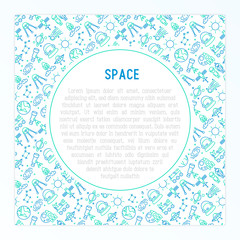 Space concept with thin line icons: rocket, Earth, lunar rover, space station, teelscope,alien,meteorite. Modern vector illustration for banner, print media, web page.