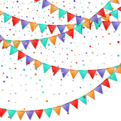 Bunting flags. Imaginative celebration card. Bright colorful holiday decorations and confetti. Bunting flags vector illustration.