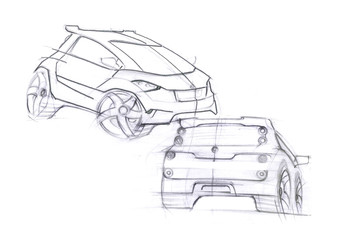 This is realistic painting sketch of sepia colour car. The car is concept sketch with dynamics lines.