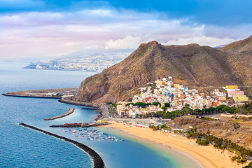 Aerial view over Las Teresitas beach and Santa Cruz cityscape in summer holiday, in Tenerife - Canary island of Spain