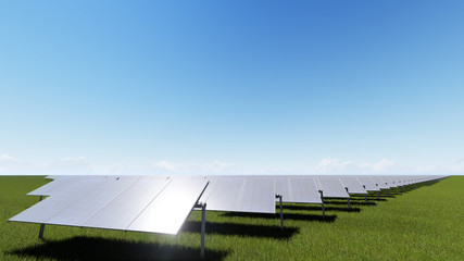 Solar panels with wind generator on clear sky 3D render
