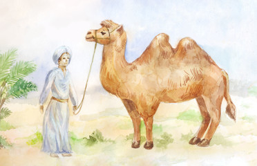 Watercolor illustration of camel and chasseur on desert background. Egypt scene.