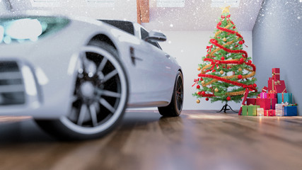 car in chrismas room and decorated.