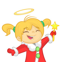 Cute cartoon Christmas angel character flying and holding star. Vector illustration of happy winter blond fairy outlined