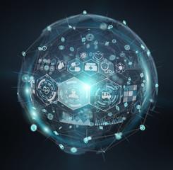 Digital medical sphere interface 3D rendering