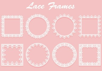 Set of white lace frames of different shapes. Openwork vintage elements isolated on a pink background.