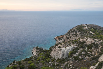 view to the Aegean Sea, the island of Halki and the port of Kameiros from the castle of Kritinia, Rhodes