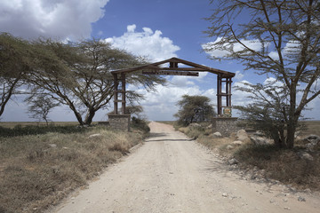 Serengeti National Park entrance in Tanzania Africa