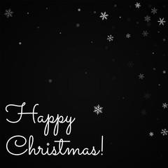 Happy Christmas greeting card. Sparse snowfall background. Sparse snowfall on black background.unique vector illustration.