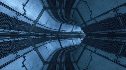 3D rendering. Futuristic spaceship interior corridor