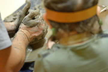 Making Pottery manually by hand