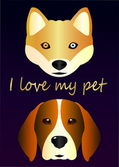 Poster - I love my pet. beautiful sketch of a hussy dog and a beagle dog - close-up. Idea for a veterinary poster on a purple gradient background