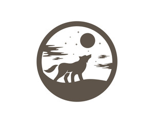 Wolf Howling In the Full Moon Night Logo