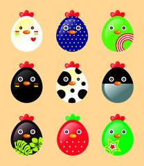 cute chicken icons vector
