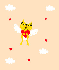 cute tiger angel valentine greeting card