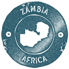 Zambia map vintage stamp. Retro style handmade label. Zambia badge or element for travel souvenirs. Rubber stamp with country map silhouette. Vector illustration.
