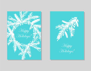 Set of Abstract Hand Drawn Universal brush Cards. Happy Holidays Christmas vector graphic background. Vector illustration