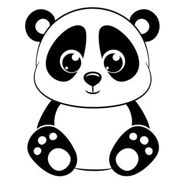 Cute panda on white background.