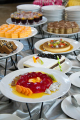 dessert with fresh fruit on buffet line