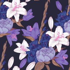 Vector floral seamless pattern with hand drawn gladiolus flowers, lilies and roses in vintage style