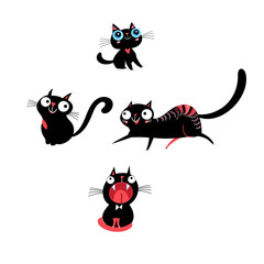 Vector set of kittens in different poses