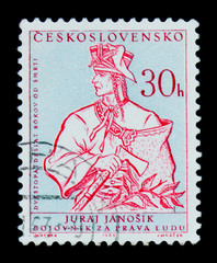 MOSCOW, RUSSIA - JUNE 20, 2017: A stamp printed in Czechoslovakia shows fighter for human rights Juraj Janosik, 250 anniv. of death, circa 1963