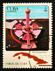 MOSCOW, RUSSIA - JULY 15, 2017: A stamp printed in Cuba shows Faro Carapachibey lighthouse, circa 1983