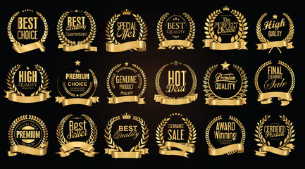 Golden sale laurel wreath with golden ribbon vector collection