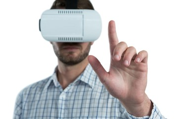 Man gesturing while using virtual reality headset