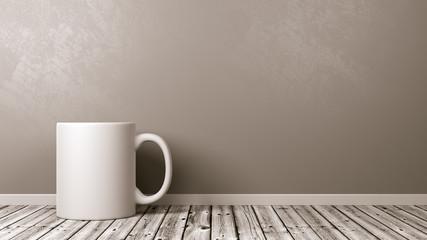 White Mug on Wooden Floor Against Wall