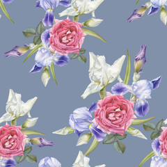 Floral seamless pattern with watercolor irises and roses