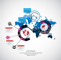 new backModern business infographic with world map
