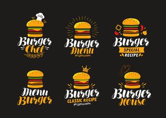 Burger logo or label. Fast food, eating concept. Vector illustration