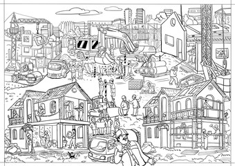 Coloring-poster, large, building, house, worker, black, white, line, site, icon, illustration, draw, training, business, team, people, object