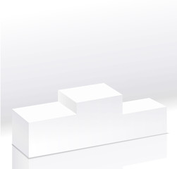Sport winners white podium isolated .Pedestal side view. Right view. 3d style illustration. Clear pedestal on light background.