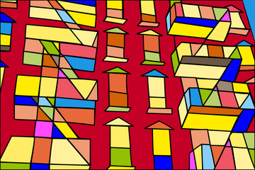 Abstract implementation of apartments in Greenwich Village, New York, in bright colors.