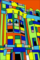 Abstract interpretation of apartments in Greenwich Village, New York, in bright colors.