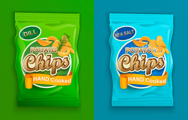 Set of two packaging with chips, with dill and with sea salt. Vector illustration.