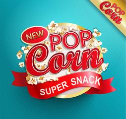 Popcorn label, symbol or sign. Vectot illustration of super snack for your design.