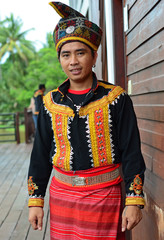 Portrait of Malaysian Native Man From Sabah Borneo in Traditional Costume.
