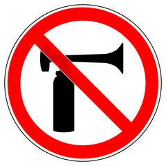srr283 SignRoundRed - german - Verbotszeichen: Gashorn / Gashörner / Signalhorn / Druckluftfanfare verboten - english - prohibition sign / klaxon - klaxons / air horn not allowed - xxl g5687