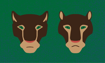 Vector two heads of cougar animals. Male and female wildcats. Stylized image.