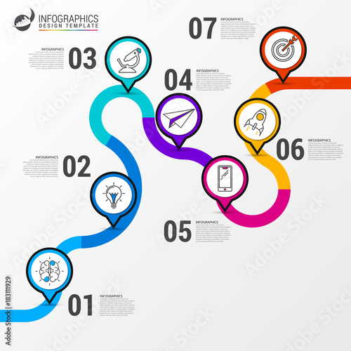 Abstract Colorful Business Path Timeline Infographic Template - Free timeline infographic template
