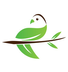 Ecological abstract leaf bird icon