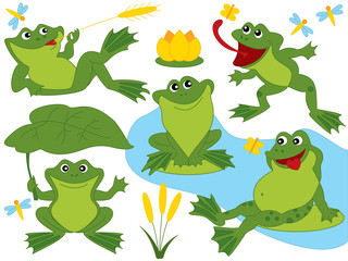 Vector Set of Cute Cartoon Frogs